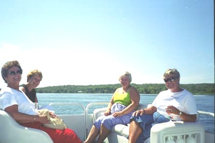 Sandi, Sue, Katherine and Andy enjoying the pontoon ride Sunday afternoon