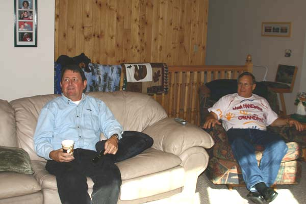 Chuck Dudley, Jim Beier watching the Vikes play